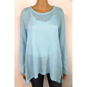 New Chelsea & Theodore Women's Textured Top Blue
